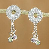 Amethyst and peridot dangle earrings, 'Facet Fascination' - Amethyst and Peridot Sterling Silver Circle Dangle Earrings
