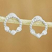 Sterling silver button earrings, 'Sparkle Trio' - Cubic Zirconia Sterling Silver Rope Motif Button Earrings
