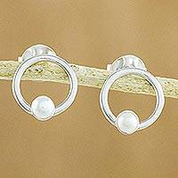 Cultured pearl button earrings, 'Sea Jewel' - Cultured Pearl and Sterling Silver Circle Button Earrings