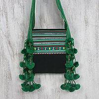 Cotton blend applique sling, 'Joyful Lisu in Green' - Cotton Blend Applique Sling in Green from Thailand