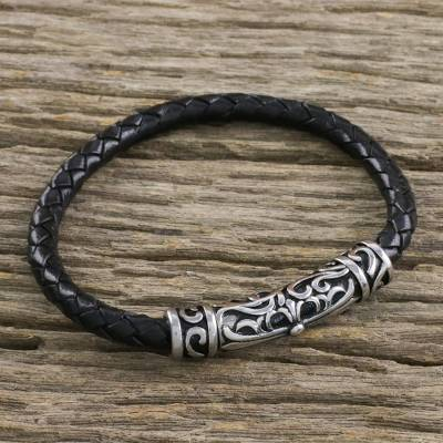 Leather braided pendant bracelet, 'Ancient Cross in Black' - Leather Cross Pendant Bracelet in Black from Thailand