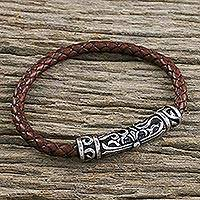 Leather braided pendant bracelet, 'Ancient Cross in Brown' - Leather Cross Pendant Bracelet in Brown from Thailand
