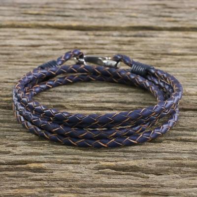 Novica Black Braided Leather Wrap Bracelet from Thailand Braided Friendship in Black YB4oI