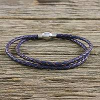 Leather wrap bracelet, 'Blue Charm' (15 in.) - Leather Wrap Bracelet in Blue (15 in.) from Thailand