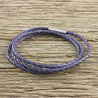 Leather wrap bracelet, 'Blue Charm' (22.5 in.) - Leather Wrap Bracelet in Blue (22.5 in.) from Thailand