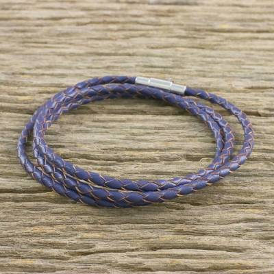 Leather wrap bracelet, 'Blue Charm' (23 inch) - Leather Wrap Bracelet in Blue (23 in.) from Thailand