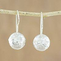 Sterling silver drop earrings, 'Disco Style' - Spherical Sterling Silver Drop Earrings from Thailand