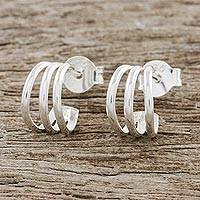 Sterling silver half-hoop earrings, 'Stripes of Light' - High-Polish Sterling Silver Half-Hoop Earrings from Thailand