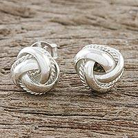 Sterling silver stud earrings, 'Sweet Knots' - Knot Motif Sterling Silver Stud Earrings from Thailand