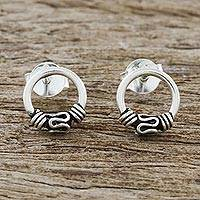 Sterling silver stud earrings, 'Lovely Curve' - Circular Sterling Silver Stud Earrings from Thailand