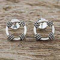 Sterling silver stud earrings, 'Roped Rings' - Rope Motif Sterling Silver Stud Earrings from Thailand