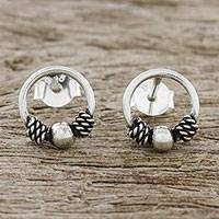 Sterling silver stud earrings, 'Champion Rope' - Artisan Crafted Circular Sterling Silver Stud Earrings