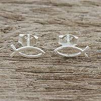 Sterling silver stud earrings, 'Age of the Fish' - Christian Fish Sterling Silver Stud Earrings from Thailand