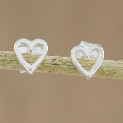 4feea6895 UNICEF Market | High-Polish Sterling Silver Heart Stud Earrings - Take My  Heart