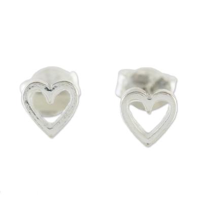 High-Polish Sterling Silver Heart Stud Earrings