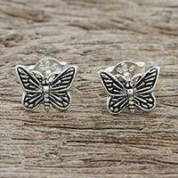 Sterling silver stud earrings, 'Prophetic Wings' - Sterling Silver Butterfly Stud Earrings from Thailand
