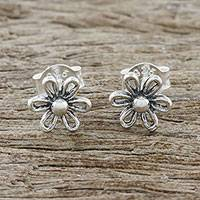 Sterling silver stud earrings, 'Flower Fancy' - Floral Motif Sterling Silver Stud Earrings from Thailand