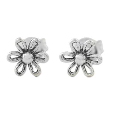 Floral Motif Sterling Silver Stud Earrings from Thailand