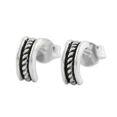 Sterling Silver Rope Half-Hoop Earrings from Thailand