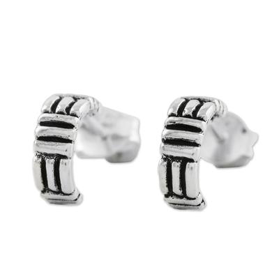 Thatch Motif Sterling Silver Half-Hoop Earrings