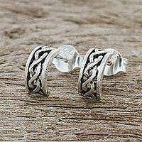 Sterling silver half-hoop earrings, 'Artisan Braid' - Sterling Silver Braid Half-Hoop Earrings from Thailand