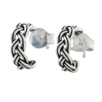 Braid Motif Sterling Silver Half-Hoop Earrings from Thailand