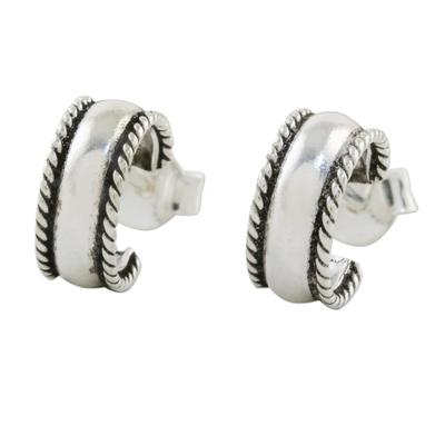 Rope Motif Sterling Silver Half-Hoop Earrings from Thailand