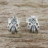 Sterling silver stud earrings, 'Delightful Ladybugs' - Sterling Silver Ladybug Stud Earrings from Thailand
