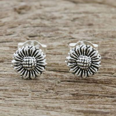 Sterling silver stud earrings, 'Cute Sunflowers' - Sterling Silver Sunflower Stud Earrings from Thailand