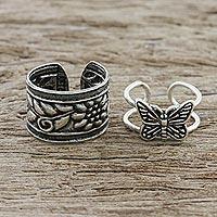Sterling silver ear cuffs, 'Nature's Garden' - Butterfly and Floral Motif Sterling Silver Ear Cuffs