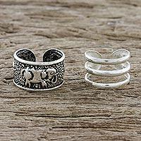 Sterling silver ear cuffs, 'Elephant Path' - Sterling Silver Elephant Ear Cuffs from Thailand