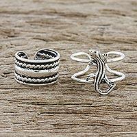 Sterling silver ear cuffs, 'Little Lizard' - Sterling Silver Lizard Ear Cuffs from Thailand