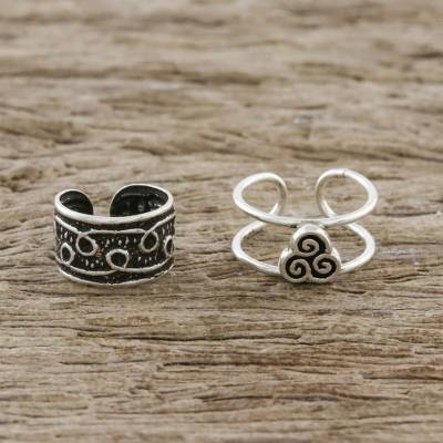 Sterling silver ear cuffs, 'Spiral Way' - Spiral Motif Sterling Silver Ear Cuffs from Thailand