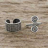 Sterling silver ear cuffs, 'Spiritual Spiral' - Spiral Motif Sterling Silver Ear Cuffs from Thailand