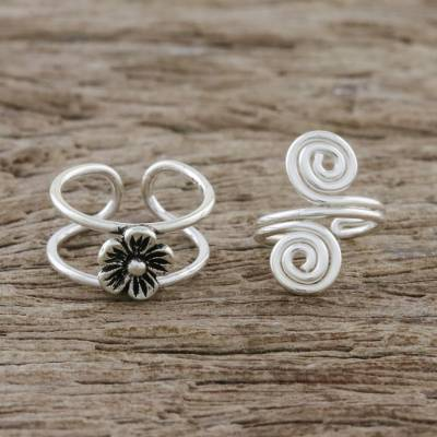 Sterling silver ear cuffs, 'Flower and Spiral' - Floral Sterling Silver Ear Cuffs from Thailand