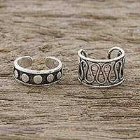 Sterling silver ear cuffs, 'Simple Style' - Circle and Wave Motif Sterling Silver Ear Cuffs