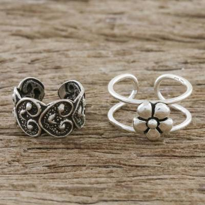 Sterling silver ear cuffs, 'Flower Love' - Floral and Heart Motif Sterling Silver Ear Cuffs