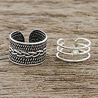 Sterling silver ear cuffs, 'Ties That Bind' - Braid Motif Sterling Silver Ear Cuffs from Thailand