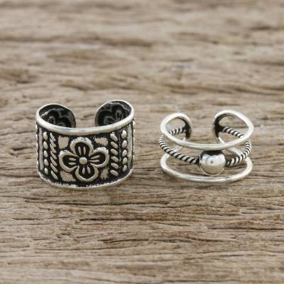Sterling silver ear cuffs, 'Cool Charm' - Floral and Rope Motif Sterling Silver Ear Cuffs