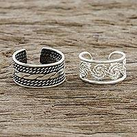 Sterling silver ear cuffs, 'Spiral Melody' - Spiral and Braid Motif Sterling Silver Ear Cuffs