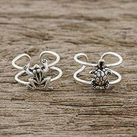 Sterling silver ear cuffs, 'Frog and Turtle' - Frog and Turtle Sterling Silver Ear Cuffs from Thailand