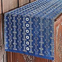 Cotton batik table runner, 'Continuous Chain' - Handcrafted Indigo and White Cotton Batik Table Runner