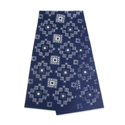 Cotton batik table runner, 'Embroidery Inspiration' - White and Dark Blue Geometric Cotton Batik Table Runner