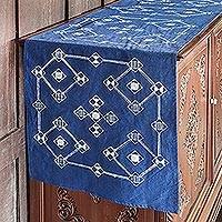 Cotton batik table runner, 'Geometric Dream' - Indigo and White Geometric Cotton Batik Table Runner