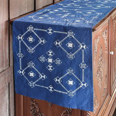 Cotton batik table runner, Geometric Dream