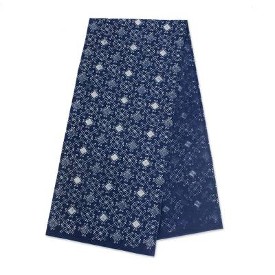 Cotton batik table runner, 'Batik Oblique' - Hmong Dark Blue and White Cotton Batik Table Runner