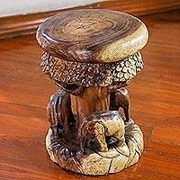 Wood stool, 'Around the Tree' - Wood Stool of Elephants Around a Tree from Thailand