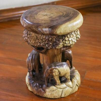 Enjoyable Wood Stool Of Elephants Around A Tree From Thailand Around The Tree Andrewgaddart Wooden Chair Designs For Living Room Andrewgaddartcom