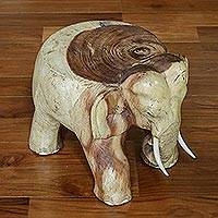 Wood stool, 'Elephant Relaxation' (11.5 inch) - Natural Wood Elephant Stool from Thailand (11.5 Inch)