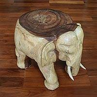 Wood stool, 'Elephant Relaxation' (15 inch) - Natural Wood Elephant Stool from Thailand (15 Inch)